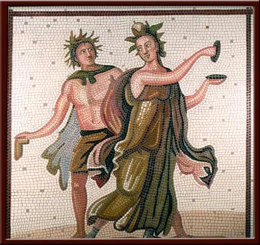 Dans Eden Maenad ve Satr (Dancing Maenad and Satry) 110X110 cm - 2003