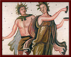 Dans Eden Maenad ve Satr (Dancing Maenad and Satry) 110X110 cm - 2003
